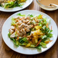 Asian Chopped Chicken Salad Recipe with Peanut Dressing
