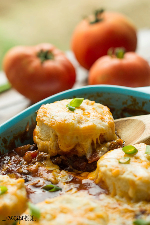 BBQ Chili Cheese Biscuit Casserole