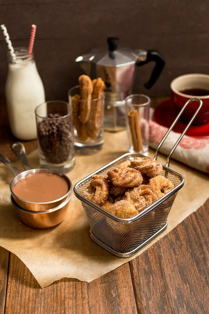 Churro Bites with Spicy Chocolate Sauce
