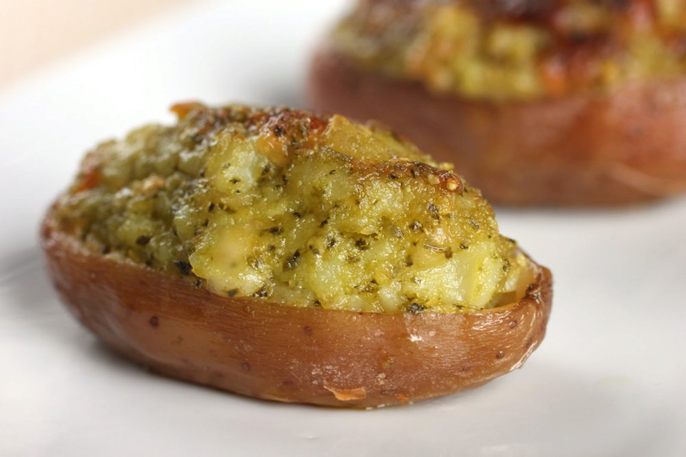 Twice-baked potatoes with pesto