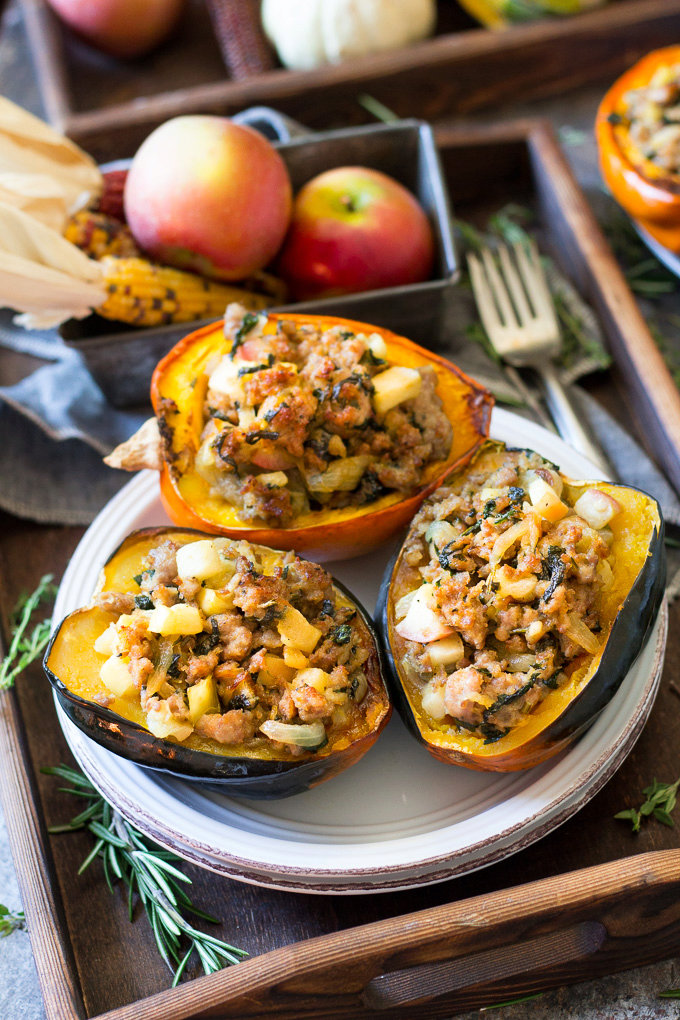 Caramelized Onion, Apple and Sausage Stuffed Acorn Squash {Paleo & Whole30}